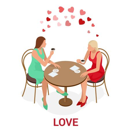 Isometric people LGBT Gay dating and Lesbian Couple Moments. Happiness Concept. Illustration
