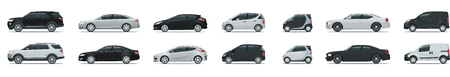 Side view of business vehicle template vector, isolated on white. Urban, city cars and vehicles transport. Vector flat icons set. Illustration