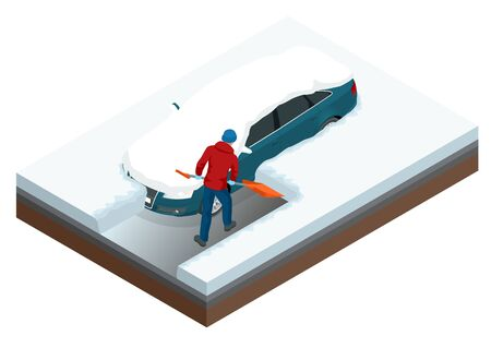 Man with shovel cleaning snow filled backyard outside his car.