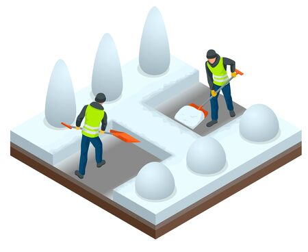 City after blizzard. Municipal workers removing snow and ice from streets. Isometric vector illustration.
