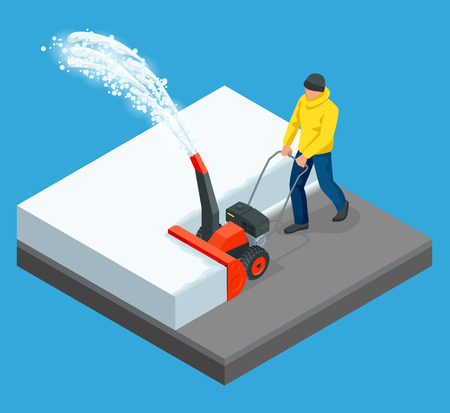 A man cleans snow from sidewalks with snowblower. City after blizzard. Isometric vector illustration. Illustration