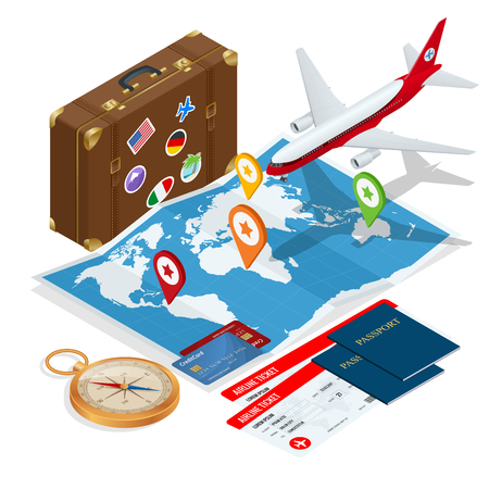 Airplane passport flight travel traveller fly travelling citizenship air concept Travel and tourism background. Flat isometric vector illustration. Vectores