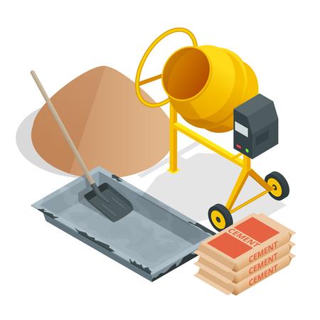 Herramientas y materiales de construcción isométrica. Edificio. Construcción edificio icono aislado fondo blanco.