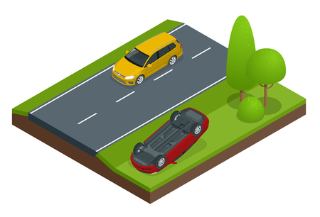 Car flipped. Car turned over after accident. Vehicle flipped onto roof. Car insurance. Protection from danger, providing security. Vector isometric illustration flat design.