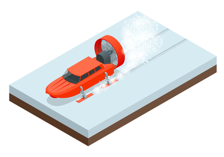 Isometric Aerosani, propeller-driven snowmobile, running on skis, used for communications, mail deliveries, medical aid, emergency recovery. Aerosled vector illustration isolated white background