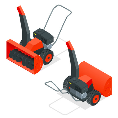 Isometric snow thrower. Cleans snow from sidewalks with snowblower. City after blizzard. Isometric vector illustration