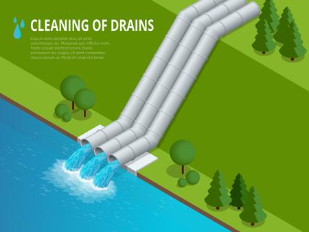 Limpeza de drenos Limpeza de drenos Descarga de resíduos químicos líquidos. O perigo para o meio ambiente. Ilustração isométrica plana para infografia e design Foto de archivo - 91946685