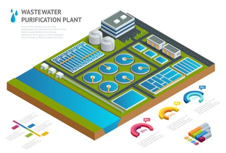 Infografika koncepcja zbiorników w oczyszczalni ścieków Ilustracja artykuł naukowy Piktogram chemia przemysłowa środek czyszczący Izometryczny wektor Zrzut płynnych odpadów chemicznych