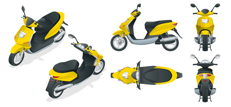Trendy electric scooter, isolated on white background. Isolated electric scooter, template for branding and advertising. Front, rear, side, top and isometry front and back  イラスト・ベクター素材