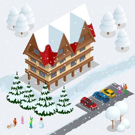 Ski resort, slope, people on the ski lift, skiers on the piste among white snow pine trees and hotel. Winter holiday web banner design. Vector isometric illustration. Stock Illustratie