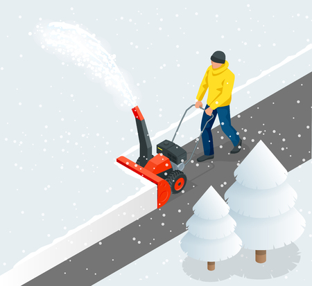 A man cleans snow from sidewalks with snowblower. City after blizzard. Isometric vector illustration. Çizim