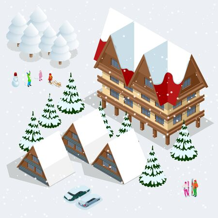 Ski resort, slope, people on the ski lift, skiers on the piste among white snow pine trees and hotel. Winter holiday web banner design. Vector isometric illustration. Illustration