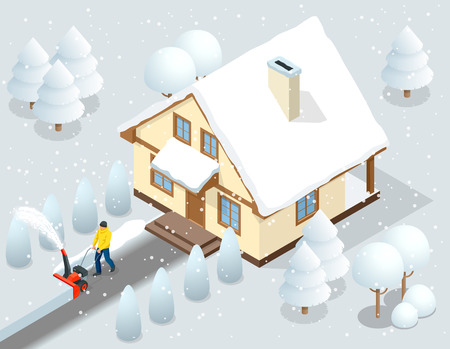 A man clears snow from sidewalks with snow blower backyard outside his house. City after a blizzard. House covered with snow. Isometric vector illustration Illustration