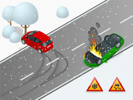 Isometric winter slippery road, car accident. The car rides on a slippery road. The car crashed into a tree, the car turned over and caught fire. Urban transport Illustration