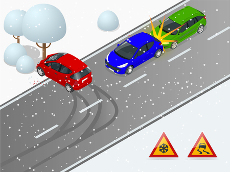 Isometric winter slippery road, car accident. The car rides on a slippery road. The car crashed into a tree. Urban transport. Illustration