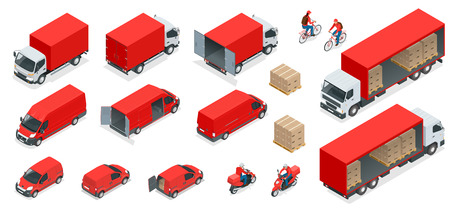 Isometric Logistics icons set of different transportation distribution vehicles, delivery elements. Cargo transport isolated on white background. Illusztráció