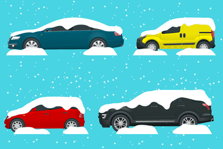 Cars covered in snow on a road during snowfall. Urban transport Vector illustration. Illustration