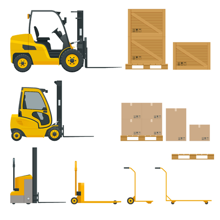 Set of Orange Forklifts in various combinations, storage racks, pallets with goods for infographics.