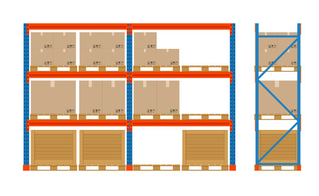 Warehouse shelves with boxes. Storage equipment icon. Side view. Vector isolated on white. Storage equipment icon set.