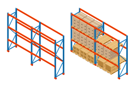 Isometric Warehouse shelves with boxes and empty shelves. Storage equipment icon. Vector isolated on white.
