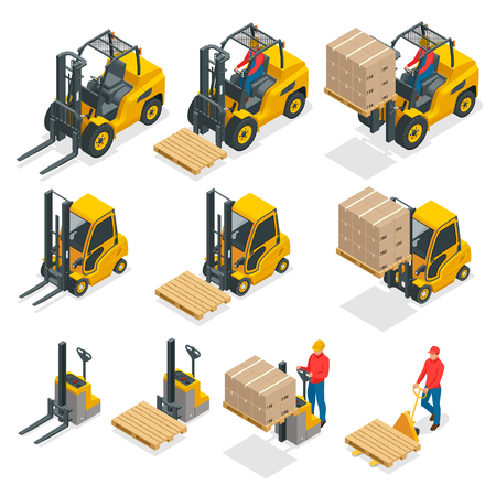Isometric vector forklift truck isolated on white. Storage equipment icon set. Forklifts in various combinations, storage racks, pallets with goods for info graphics.