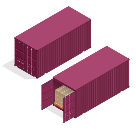 Isometric vector large metal containers for transportation. Open and closed doors with cardboard boxes. Delivery of cargo, shipping.