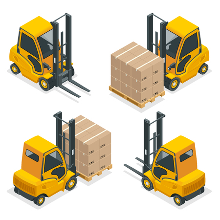 Isometric vector Compact Forklift Trucks isolated on white. Storage equipment icon set. Forklifts in various combinations, storage racks, pallets with goods for info graphics. Ilustracja