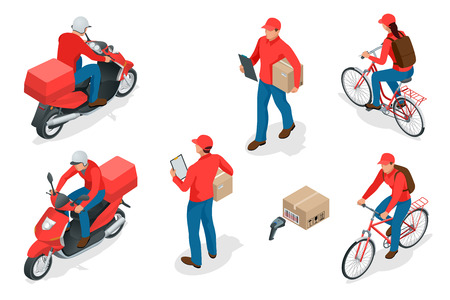 Servicio de entrega isométrica o concepto de servicio de mensajería. Ilustración del vector de los trabajadores de entrega o del mensajero. Ilustración de vector