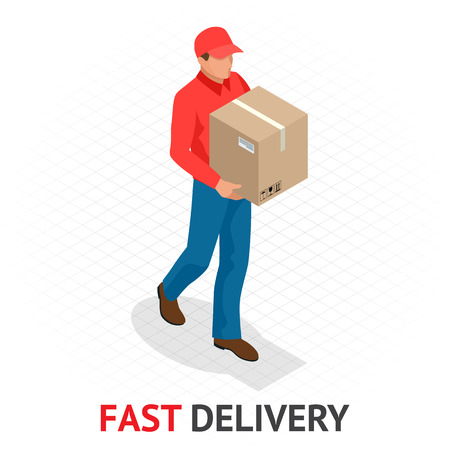 Isomeric fast delivery concept. Delivery man in red uniform holding boxes and documents. Courier order, worldwide shipping. Fast and Free Transport.