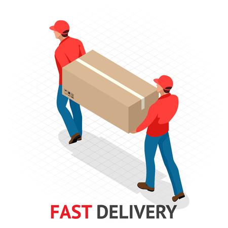 Concept de livraison rapide isomérique. Livreur en uniforme rouge tenant des boîtes et des documents. Commande de courrier, expédition dans le monde entier. Transport rapide et gratuit.