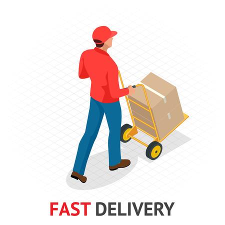 Concept de livraison rapide isomérique. Livreur en uniforme rouge tenant des boîtes et des documents. Commande de courrier, expédition dans le monde entier. Transport rapide et gratuit