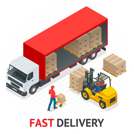 Isometric delivery and shipment service. Fast and Free Transport. Pallet with boxes and delivery process in store vector illustration.