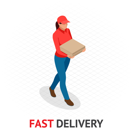 Isomeric Fast and Free Delivery concept. Delivery woman in red uniform holding boxes and documents. Girl from courier order, city shipping. Illustration