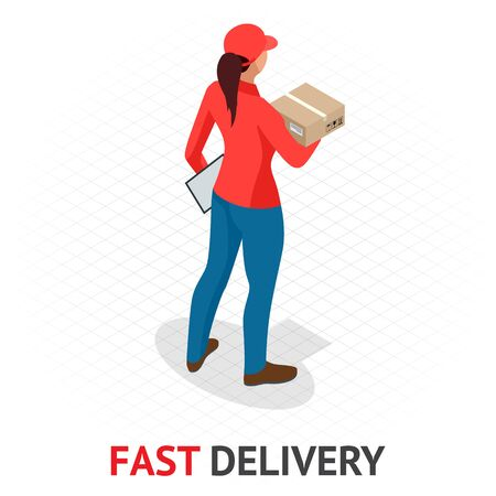 Isomeric Concept de livraison rapide et gratuit. Femme de livraison en uniforme rouge tenant des boîtes et des documents. Fille de l'ordre de courrier, expédition de ville.