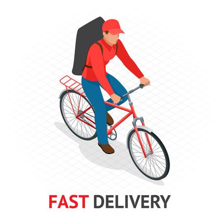 Concept de livraison rapide isomérique. Livreur ou cycliste en uniforme rouge de la société de livraison accélérant sur un vélo dans les rues de la ville avec une livraison de nourriture chaude des restaurants aux maisons