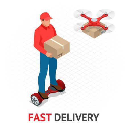 Concept de livraison rapide isomérique. Livreur en uniforme rouge tenant des boîtes et des documents sur hoverboard et drone. Commande de courrier, expédition dans le monde entier. Transport rapide et gratuit. Vecteurs