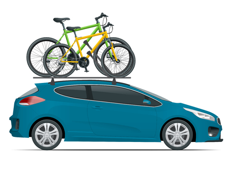 Side view station wagon car with two bicycles mounted on the roof rack. Flat style vector illustration isolated on white background Illustration