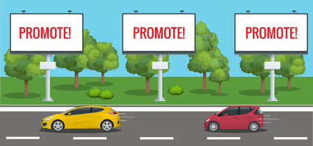 Big Blank Billboard, Poster, Board, Banner template with urban landscape. Large promotional banner with cars and city street houses