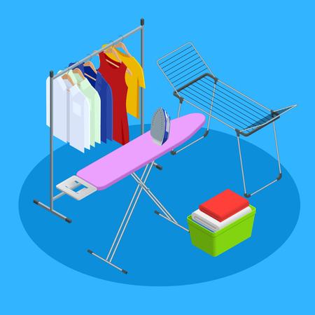 Isometric iron, ironing board and laundry basket flat style vector illustration isolated on white background.
