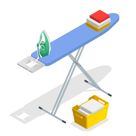 Isometrische strijkijzer, strijkplank en Wasserij basketf vlakke stijl vectorillustratie geïsoleerd op een witte achtergrond