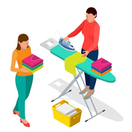 Mujer isométrica que plancha la ropa que usa el hierro en la tabla de planchar después de la ropa interior de la colada y de la mujer que sostiene la ropa lavada y secada. Ilustración de vector de estilo plano aislado sobre fondo blanco.