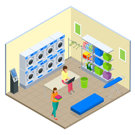 Laundry service and dry cleaning concept. Row of industrial laundry machines in laundromat. Iron, ironing board and laundry basket. Flat isometric style vector illustration Stock Illustratie