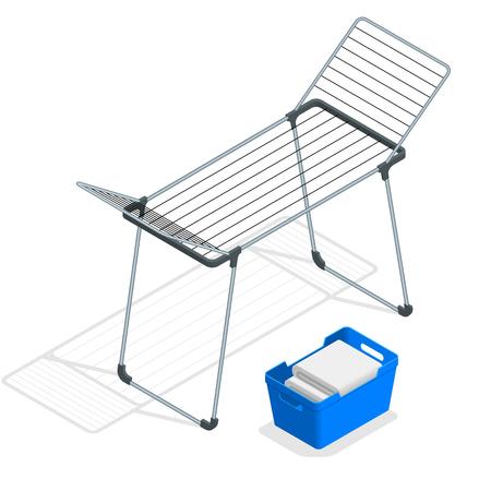 Isometrischer leerer Stoff-Wäscheständer und Wäschekorb lokalisiert auf Weiß. Wäschetrockner Vektor-Illustration Vektorgrafik
