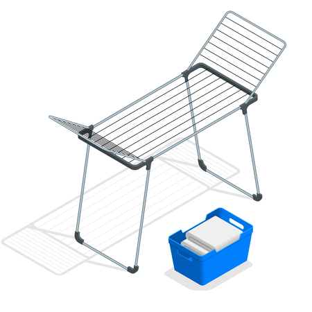 Isometric Empty Cloth Drying Rack and Laundry Basket isolated on white. Clothes drier vector illustration Illustration