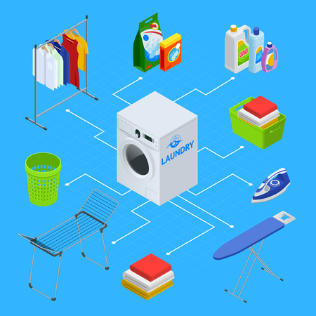 Isometric laundry service illustration. Laundry with washing machine and ironing board, household products, clothes, iron, facilities for washing, washing powder and basket. Flat vector illustration.