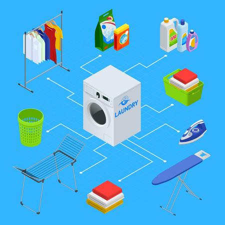 Isometric laundry service illustration. Laundry with washing machine and ironing board, household products, clothes, iron, facilities for washing, washing powder and basket. Flat vector illustration.