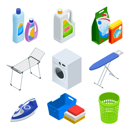 Isometric laundry service elements set Çizim