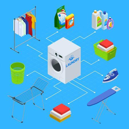 Isometric laundry service illustration