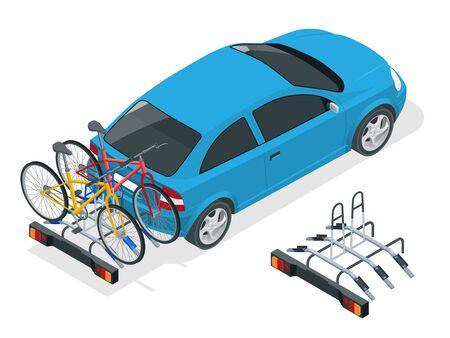 Bici isometriche caricate sul retro di un furgone. Auto e biciclette Illustrazione vettoriale stile piatto isolato su sfondo bianco Vettoriali