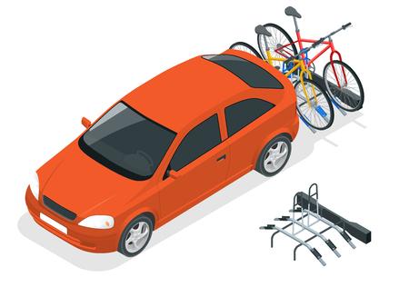 Bici isometriche caricate sul retro di un furgone. Auto e biciclette Illustrazione vettoriale stile piatto isolato su sfondo bianco